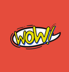 pop art wow logo vector image