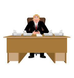 president at desk big boss at table director in vector image
