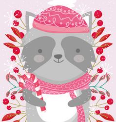 raccoon with scarf hat berries and leaves merry vector image
