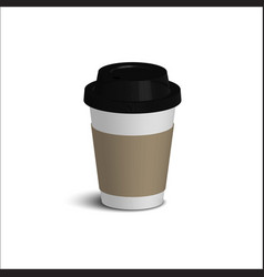 Realistic paper coffee cup set black cover white vector