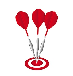 Red darts with dartboard isolated over white vector