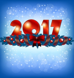 Red New Year 2017 numbers and Xmas decoration vector