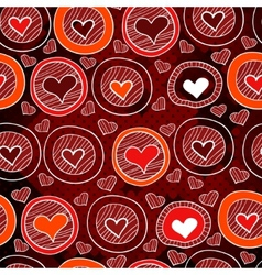 Red pattern with hearts in the circles sketch vector image vector image