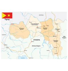 Road and administrative map tigray ethiopia vector