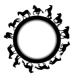 round frame with horse silhouettes vector image