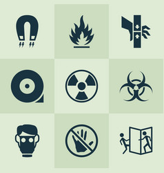 Safety icons set with danger moving part vector