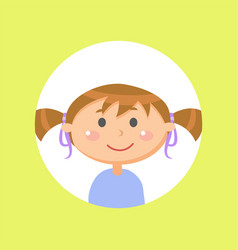 Schoolgirl with pony tails child or girl avatar vector