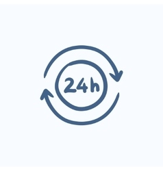 Service 24 hrs sketch icon vector