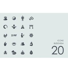 Set buddhism icons vector