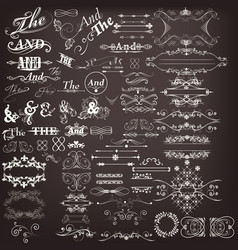 set calligraphic elements for design vector image