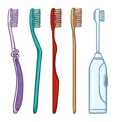set cartoon toothbrushes manual and electric vector image