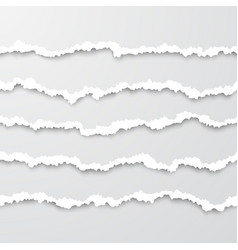 set horizontal seamless torn white paper wisps vector image