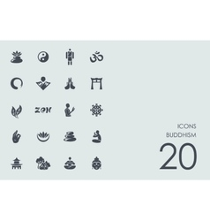 Set of buddhism icons vector