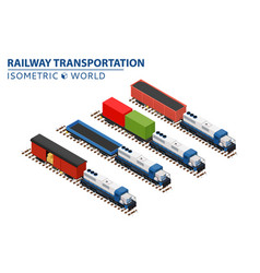 set of railway trains consisting of locomotives vector image