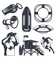 Set of vintage lifeguard elements vector