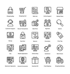 shopping colored icons set 1 vector image