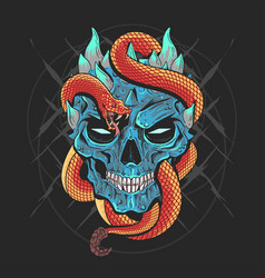 Skull head punk and snake artwork detail wi vector