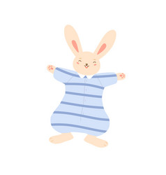 Smiling funny rabbit in striped overalls vector