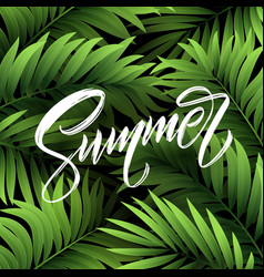 Summer lettering on palm leaf background vector