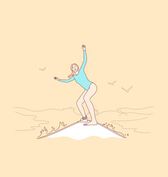 surfing sport summer vacation concept vector image