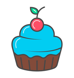 Sweet cupcake isolated icon vector