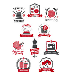 Tailor sewing shop symbols for handmade design vector