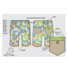 Tech sketch knee-length shorts with description vector