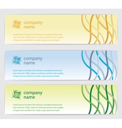 Three Invitation cards with lines on background vector image