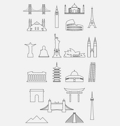 travel landmarks icon set with thin line style vector image