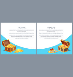 treasure posters set gold ancient coins chests vector image