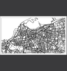 Tripoli libya map in black and white color vector