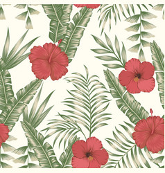 tropical leaves and flowers seamless beige vector image