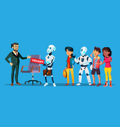 Unemployed characters waiting interview vector