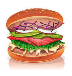Vegetarian burger with salmon fish vector