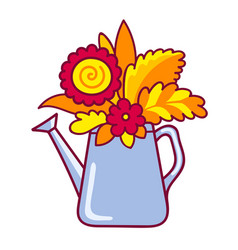 watering can with autumn flowers and leaves vector image