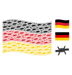 Waving germany flag pattern of barbed wire items vector