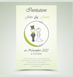 Wedding announcement with bride and groom vector