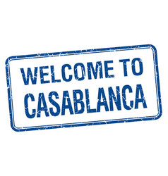 Welcome to casablanca blue grunge square stamp vector