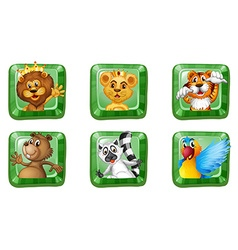 Wild animals on square buttons vector