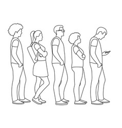 young modern people stand in line vector image