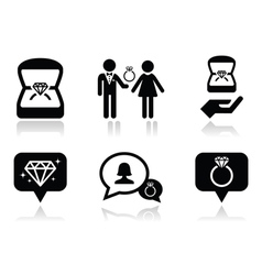 Engagement diamond ring in box icons set vector image