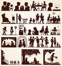 Family silhouettes set vector image vector image