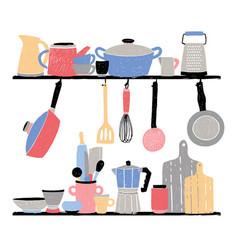 kitchenware on shelf hand drawn vector image