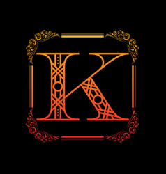 letter k with ornament vector image vector image
