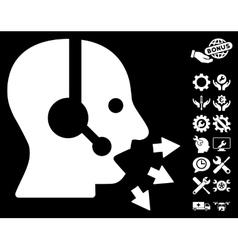Operator Speak Icon With Tools Bonus vector image vector image