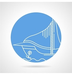 Sail boat round icon vector image vector image