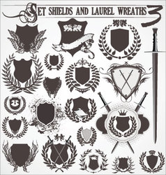 Set - shields and laurel wreaths 3 vector