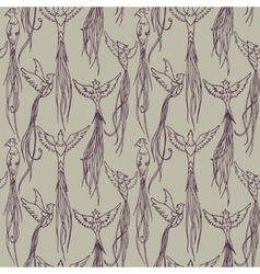 vintage pattern with exotic birds vector image vector image