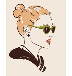 woman in glasses vector image vector image
