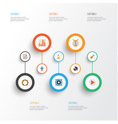 audio icons flat style set with begin frequency vector image
